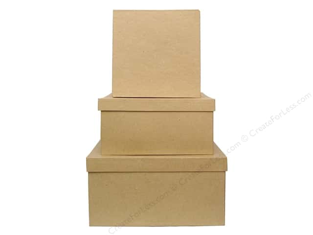 Paper mache large square box set of 3 6 sets for Craft paper mache boxes