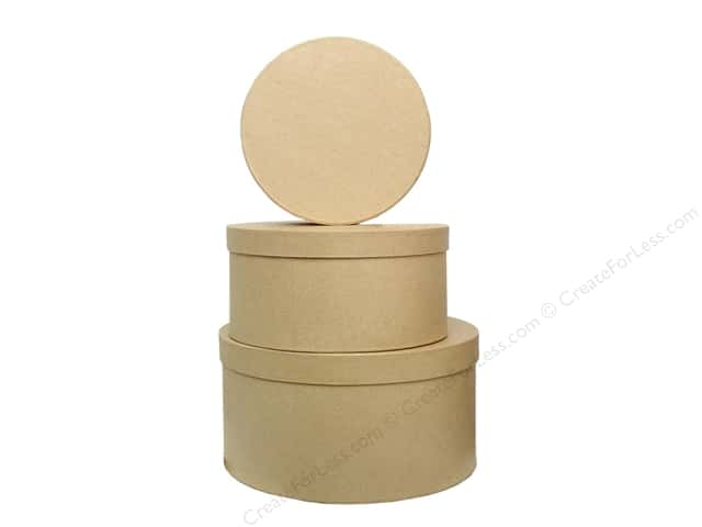 PA Paper Mache Large Round Box Set of 3 (6 sets)