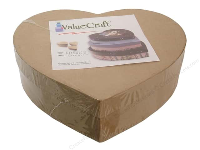 Paper mache thin heart box set of 3 by craft pedlars for Craft paper mache boxes