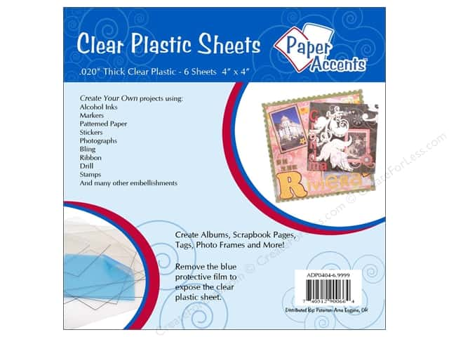 Plastic Sheet 4 x 4 in. by Paper Accents Clear .02 in. 6 pc.