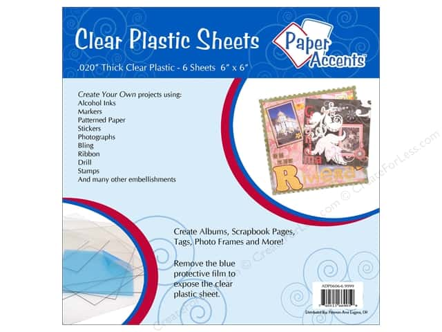 Plastic Sheet 6 x 6 in. by Paper Accents .02 in. Clear 6 pc.