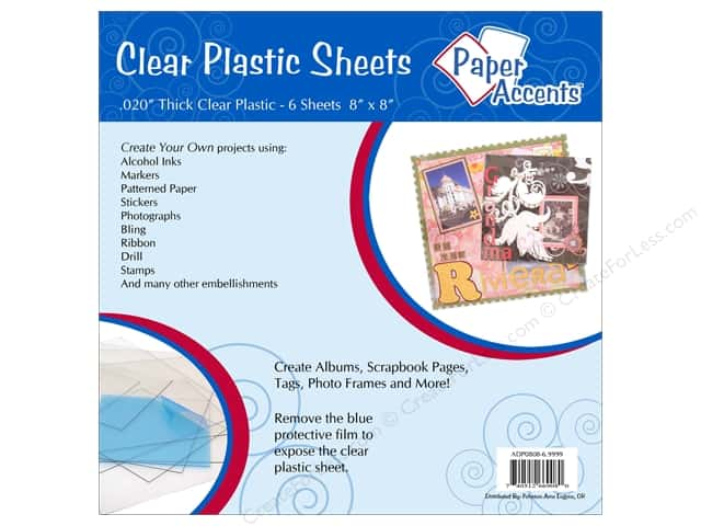 Plastic Sheet 8 x 8 in. by Paper Accents Clear .02 in. 6 pc.