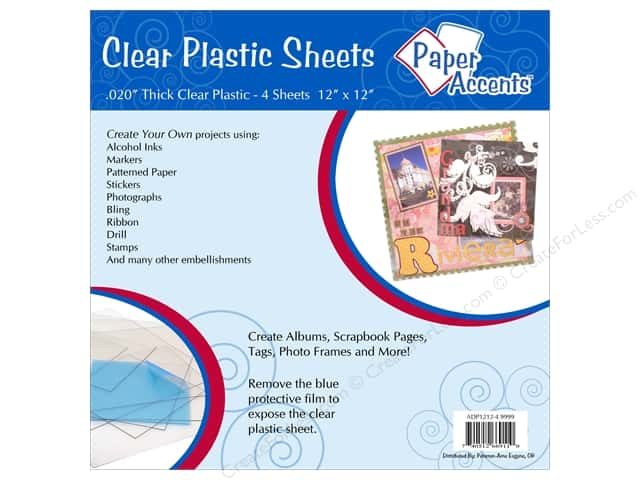 Plastic Sheet 12 x 12 in. by Paper Accents Clear .02 in. 4 pc.