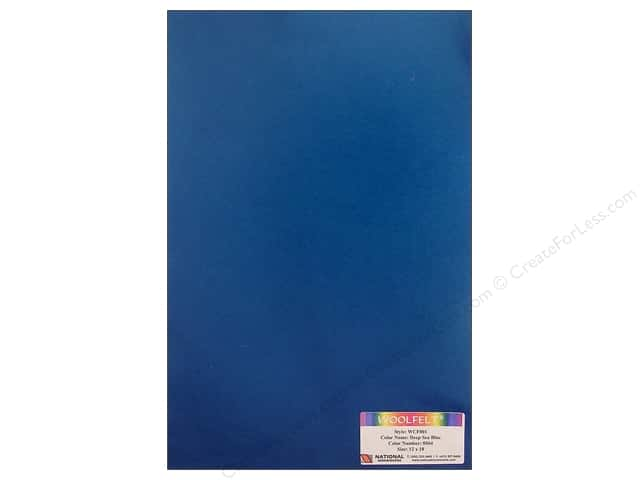 National Nonwovens 20% Wool Felt 12 x 18 in. Deep Sea Blue (10 sheets)