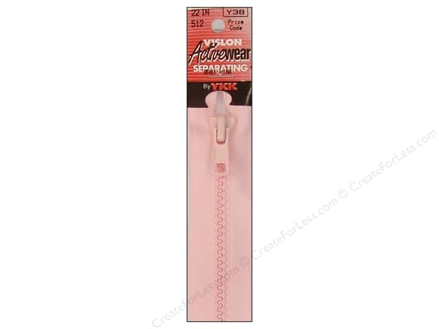 YKK Vislon Separating Zipper 22 in. Baby Pink