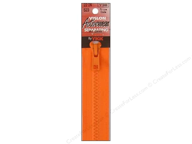 YKK Vislon Separating Zipper 22 in. Burnt Orange