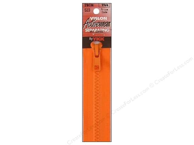 YKK Vislon Separating Zipper 28 in. Burnt Orange