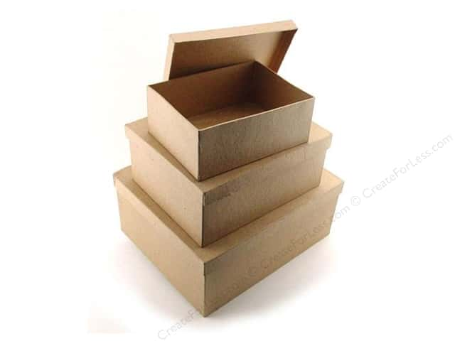 Paper Mache Large Rectangle Box Set of 3 by Craft Pedlars (6 sets)