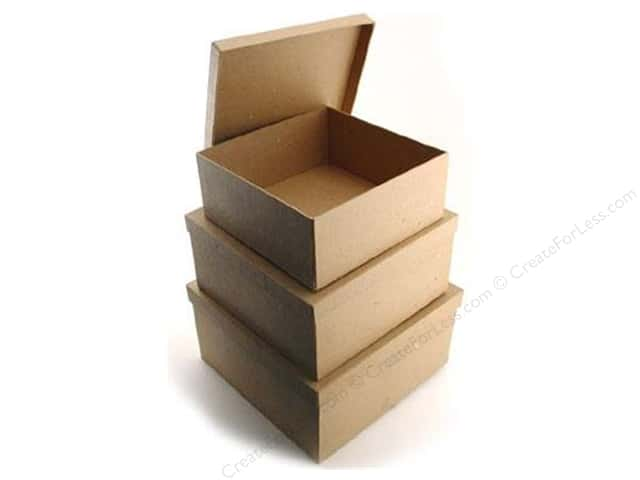 PA Paper Mache Medium Square Box Set of 3 (8 sets)