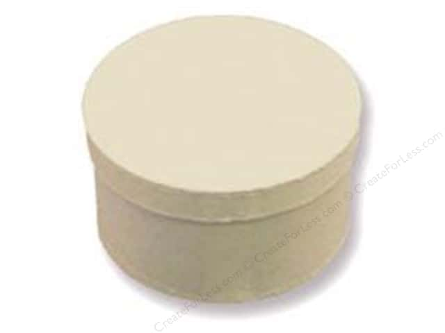 Paper Mache Round Box 4 1/2 in. Vanilla by Craft Pedlars (24 boxes)