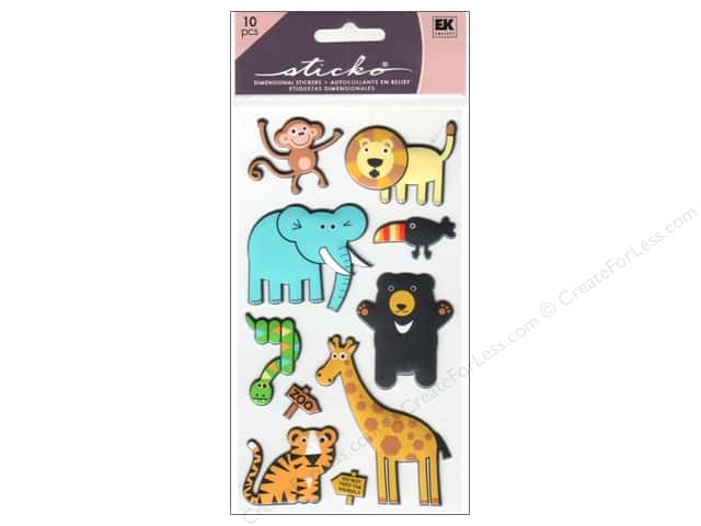 EK Sticko Stickers Puffy Zoo