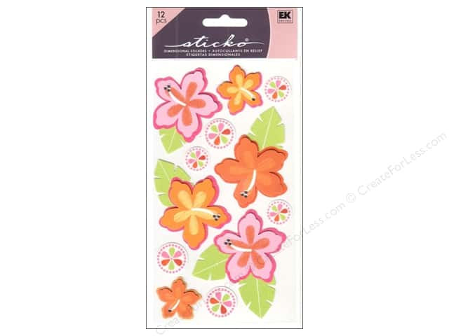 EK Sticko Stickers Mixed 3D Hibiscus