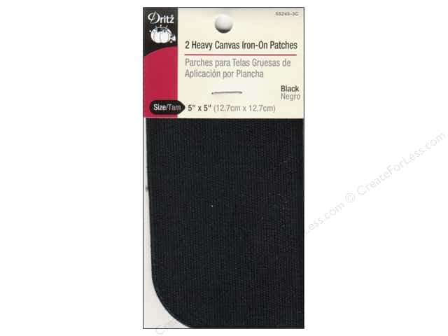 Dritz Heavy Canvas Iron-On Patches - 5 x 5 in. Black 2 pc.