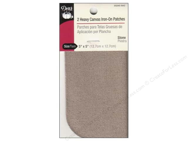 Dritz Heavy Canvas Iron-On Patches - 5 x 5 in. Stone 2 pc.