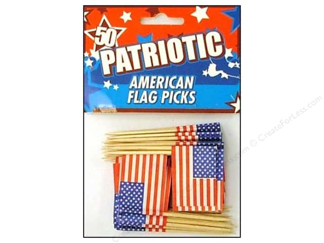 Fox Run Craftsmen American Flag Party Picks 50pc