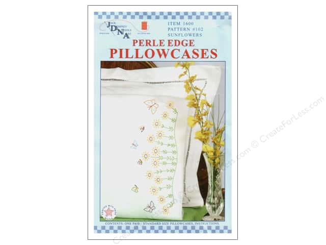 Jack Dempsey Pillowcase Perle Edge White Sunflowers