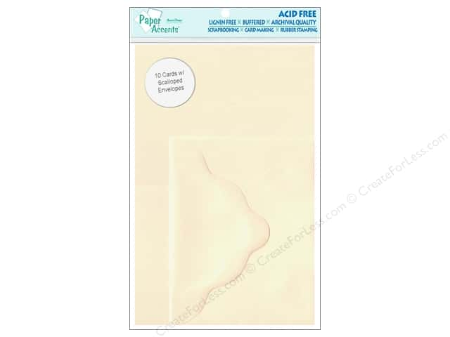 4 1/4 x 5 1/2 in. Blank Card & Envelopes by Paper Accents 10 pc. Scalloped Cream