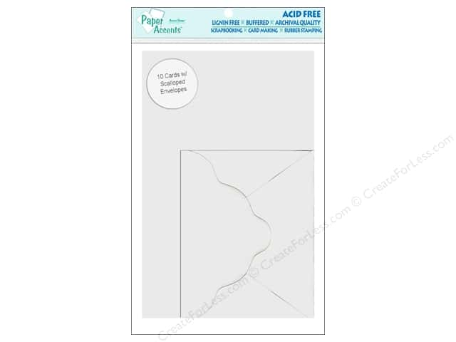 4 1/4 x 5 1/2 in. Blank Card & Envelope by Paper Accents Scalloped 10 pc. Linen White
