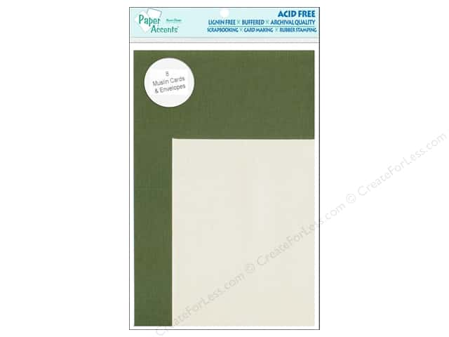 4 1/4 x 5 1/2 in. Blank Card & Envelopes  by Paper Accents 8 pc. Muslin Rain Forest/Cream