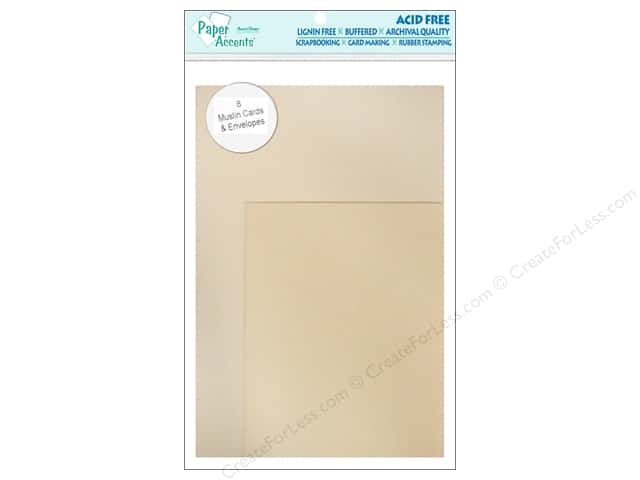 4 1/4 x 5 1/2 in. Blank Card & Envelopes by Paper Accents 8 pc. Muslin French Vanilla