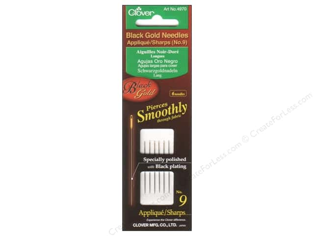 Clover Black Gold Quilting Needles 6 pc. Applique Size 9