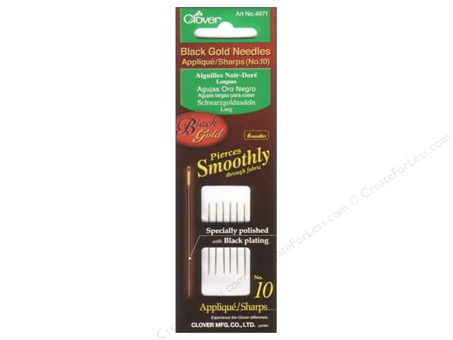 Clover Black Gold Quilting Needles 6 pc. Applique Size 10