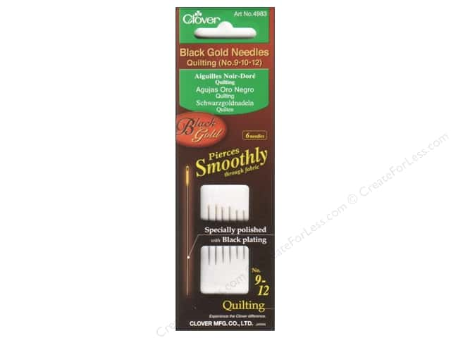 Clover Black Gold Quilting Needles 6 pc. Size 9,10 and 12