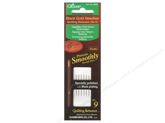 Clover Black Gold Quilting Needles 6 pc. Between Size 9