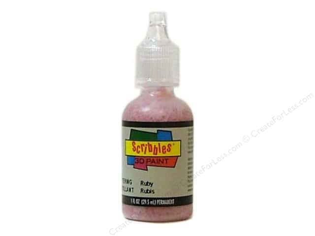 Scribbles 3D Fabric Paint 1 oz. Glittering Ruby