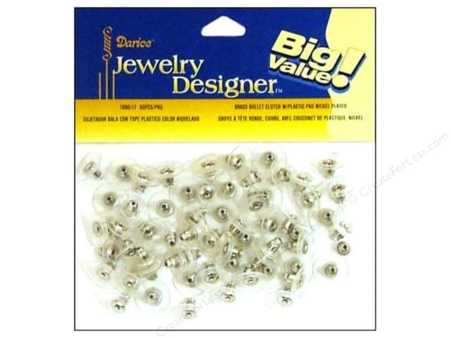 Darice Bullet Clutch Earring Backs with 5 mm Pad 60 pc. Nickel