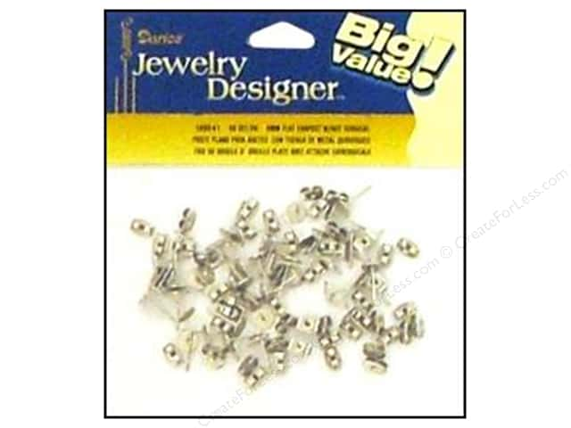 Darice Jewelry Designer Earring Post 6mm Flat & Nut Surgical Steel 48pc