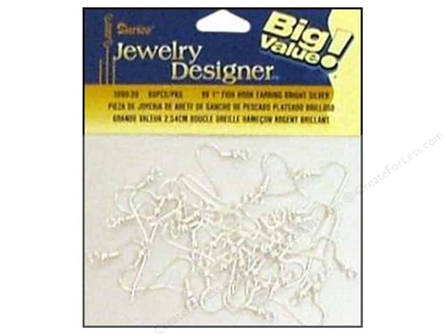 "Darice Jewelry Designer Earring Fish Hook 1"" Bright Silver 60pc"