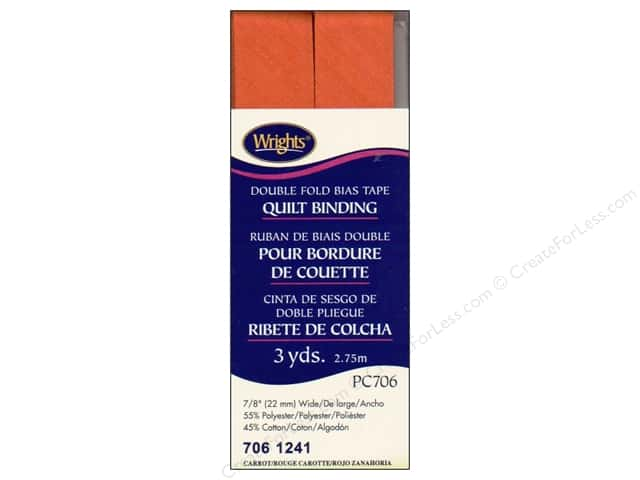 Wrights Double Fold Quilt Binding 3 yd. Carrot
