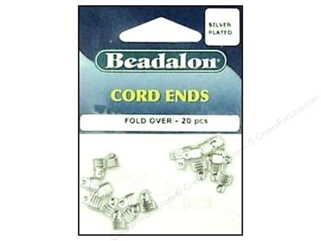 Beadalon Cord Ends Fold Over Silver Plated 20 pc.