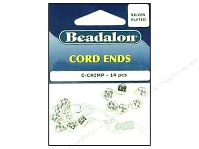 Beadalon Cord Ends C-Crimp Silver Plated 14 pc.