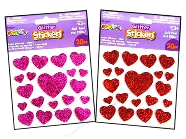 Darice Foamies Stickers Glitter Hearts 20 pc. Red/Pink
