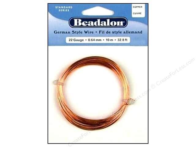 Beadalon German Style Wire 22ga Round Copper 32.8 ft.