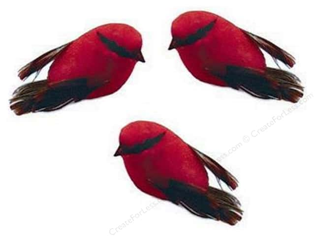 Midwest Design Artificial Birds 1/2 in. Feather Mini Red 3 pc.