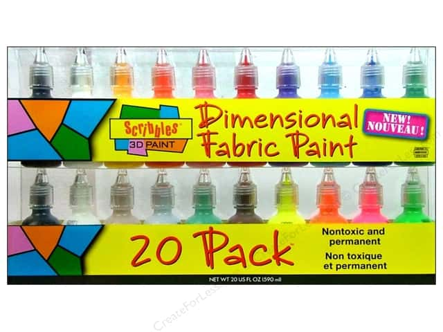 Scribbles Dimensional Fabric Paint Set 20 pc
