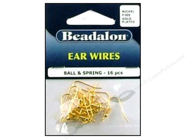 Beadalon Ear Wires Ball & Spring Nickel Free Gold Plated 16 pc.