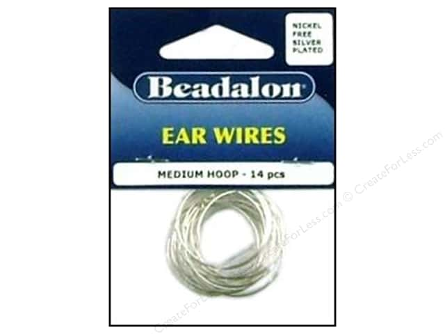 Beadalon Ear Wires Beading Hoops Medium 25 mm Nickel Free Silver Plated 14 pc.