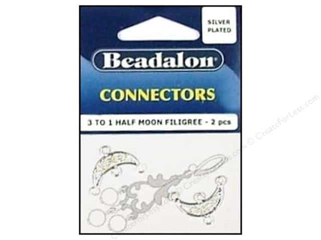 Beadalon Connectors 3 To 1 Half Moon Filligree 2 pc. Silver Plated