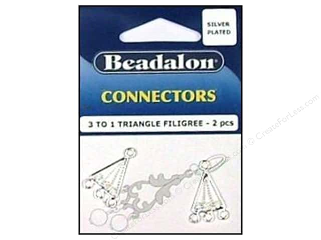 Beadalon Connectors 3 To 1 Triangle Filligree 2 pc. Silver Plated