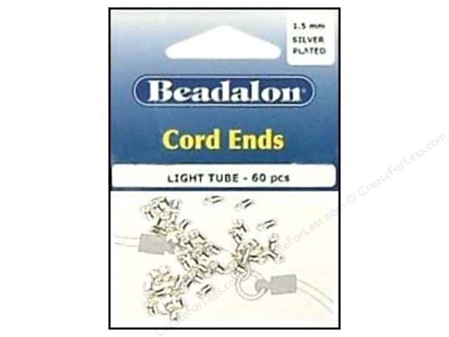 Beadalon Cord Ends Light 1.5 mm Silver Plated 60 pc.