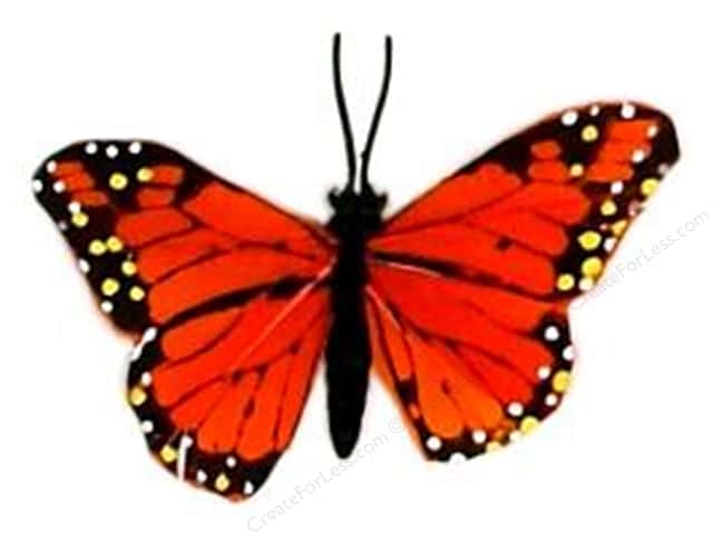 "Midwest Design Butterfly 3.25"" Feather Wire Monarch 1pc"