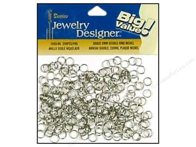 Darice Jewelry Designer Double Split Rings 6 mm Nickel Plated Brass 288 pc.