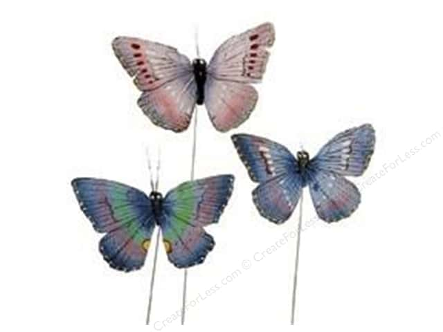 "Midwest Design Butterfly 2.75"" Feather Assorted 1pc"