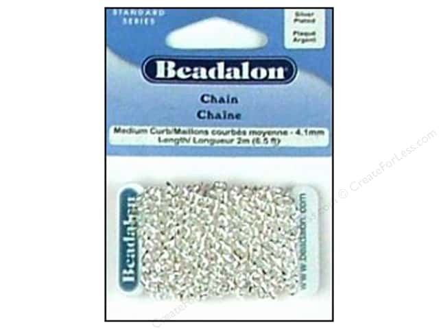 Beadalon Medium Curb Chain 4.1 mm (.161 in.) Silver Plated 2 m (6.56 ft.)