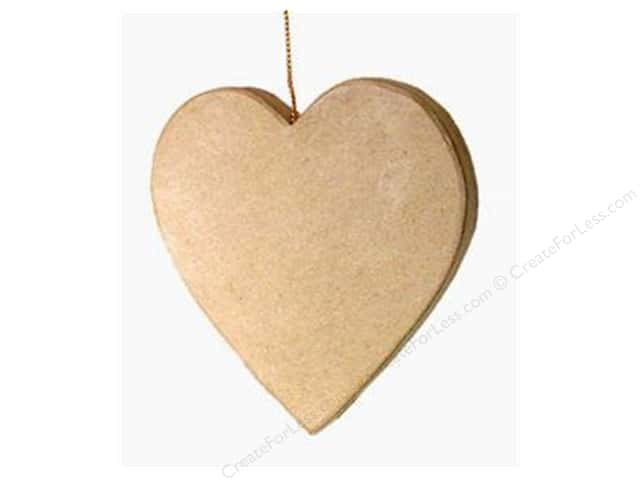 PA Paper Mache Flat Heart Ornament 4 in.