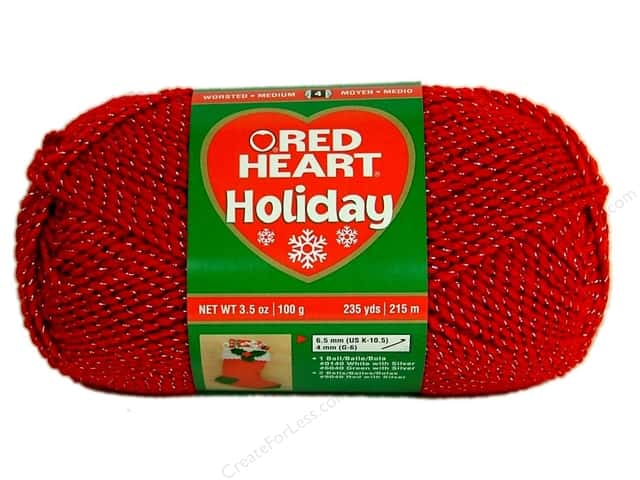 Red Heart Holiday Yarn #9040 Red/Silver 235 yd.